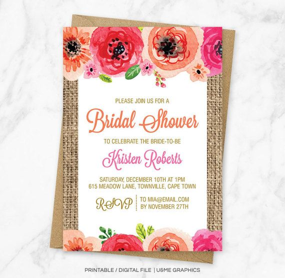 Rustic Bridal Shower Invitation Floral Bridal Shower