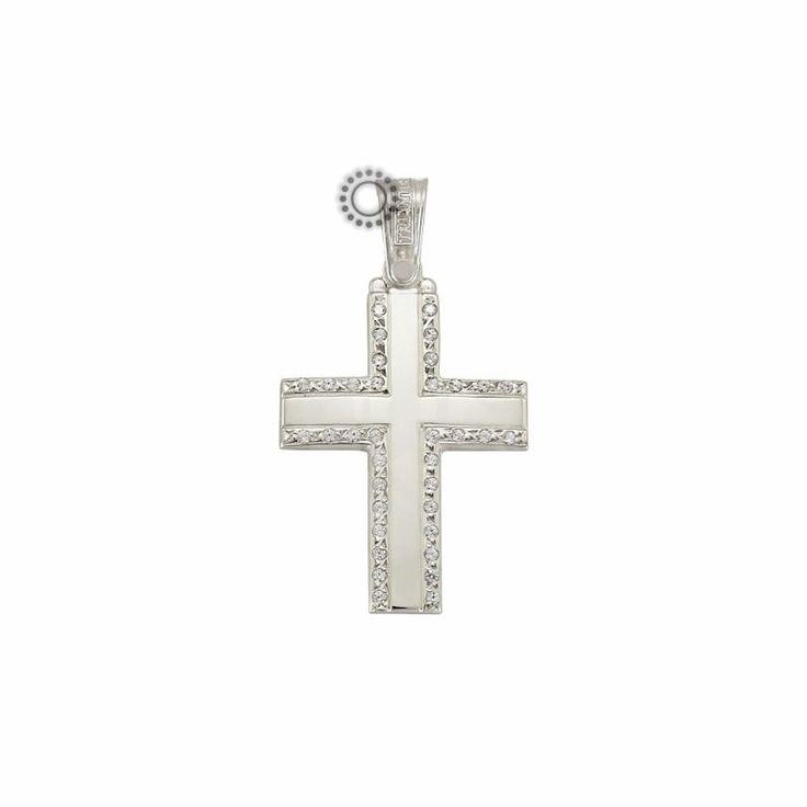 Μοντέρνος και απλός βαπτιστικός σταυρός για κορίτσι ΤΡΙΑΝΤΟΣ από λευκόχρυσο Κ14 με διακριτικά ζιργκόν στα άκρα | Βαπτιστικοί σταυροί ΤΣΑΛΔΑΡΗΣ στο Χαλάνδρι #τριάντος #βαπτιστικοί #σταυροί #κορίτσια