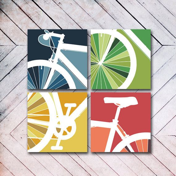 CANVAS // 4 Panel Bike Art // Bike Art Cycle by ANCHORandVINE