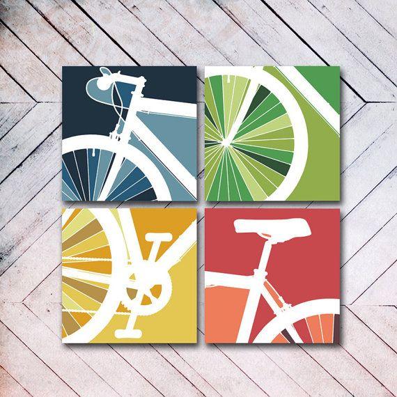 "4 Panel Bike Canvas Art - 8"" x 8"". $100.00, via Etsy."