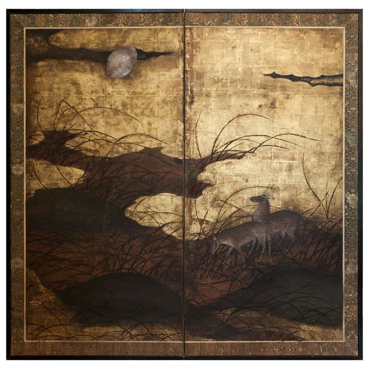 17th Century Japanese Paper Screen, Early Edo Period  | From a unique collection of antique and modern paintings and screens at https://www.1stdibs.com/furniture/asian-art-furniture/paintings-screens/
