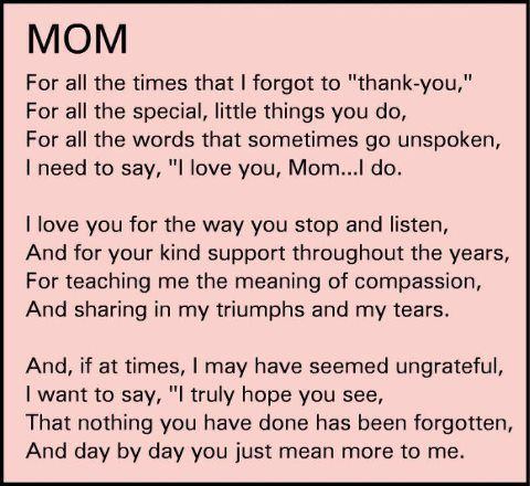 Thank You Gifts For Mom And Dad : Thank-you Mom for everything. Miss you. Miss You Mom. Pinterest ...