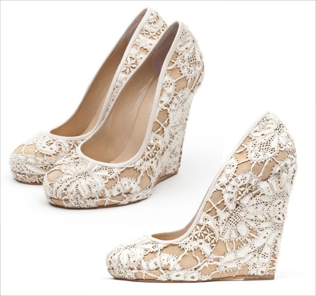 nude white lace wedges liam fahy