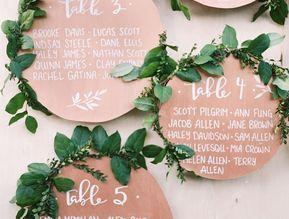 idée de plan de table diy mariage, des cercles en papier couleur cuivre avec des tables et invités écrits en blanc et petites couronnes vertes