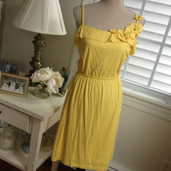 yellow sundress Super cute!! Floral appliqués at bust, braided straps. Fully lined, and super comfy jersey makes this the ideal summer dress! Size small Mavi Dresses