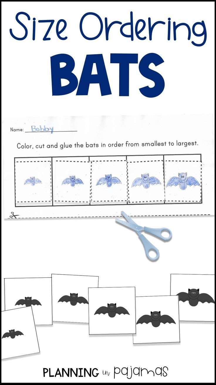 Bats Size Ordering Cards And Worksheet To Add To A Halloween Theme Makes A Perfect Math Preschool Math Worksheets Worksheets For Kids Kindergarten Math Units [ 1308 x 736 Pixel ]
