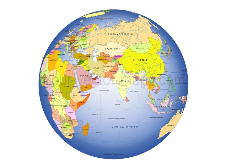China, India, Asia centered Globe map