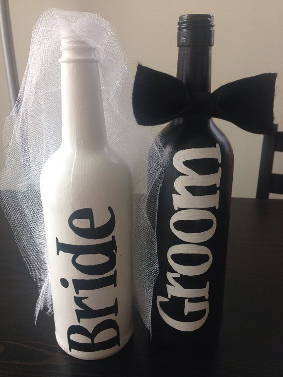 400a7ec195e Bride and Groom Painted Wine Bottles Bride and by KeepCalmWineOn ...
