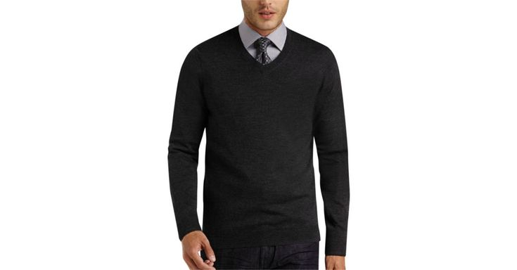 Joseph Abboud Charcoal V-Neck Merino Sweater - Men's Modern Fit | SALE CASUAL!!! Father's Day special free shipping 100 and up!