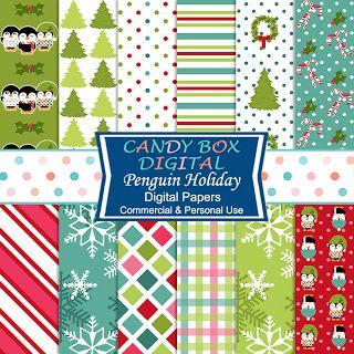 What's in the Candy Box: NEW Penguin Digital Papers and Ribbon Borders!