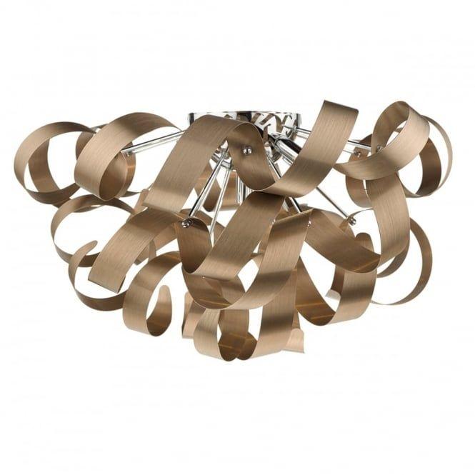 Modern 5 Light Brushed Copper Flush Ceiling Light