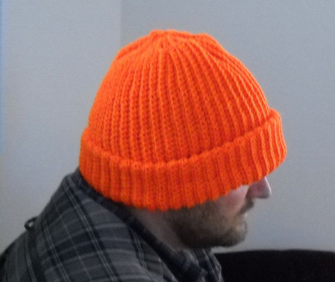 Mens Deer Hunter Bright Orange Hat Cap Beanie Size XL Crochet Extra Warm Outdoors Cold Winter Weather by TheCraftyShack, $45.00 USD