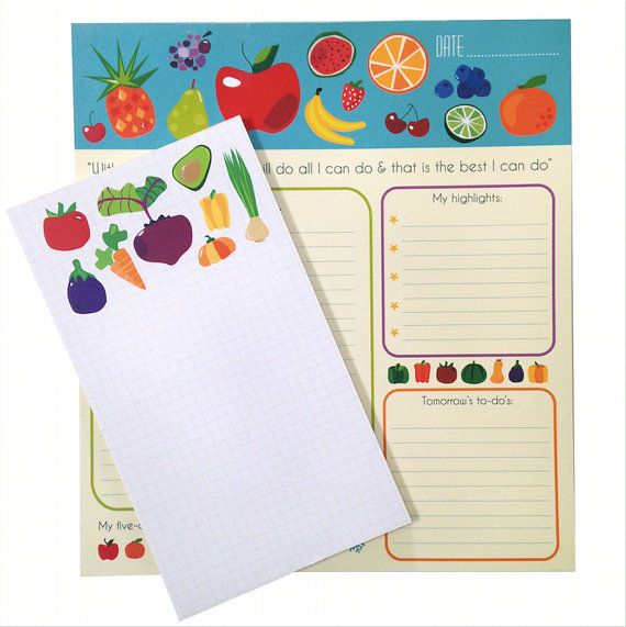 Fresch Produce  Set of 2 Notepads by SchwarzieTM on Etsy, $20.00