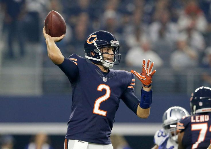 Chicago Bears quarterback Brian Hoyer (2) throws a pass against the Dallas Cowboys in the first half of an NFL football game, Sunday, Sept. 25, 2016, in Arlington, Texas.