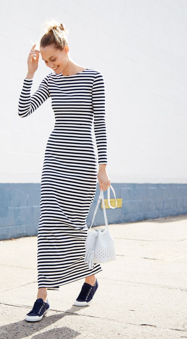 J.Crew Looks We Love: women's long-sleeve striped maxi dress, mini bucket bag in perforated leather and Tretorn® canvas T56 sneakers.