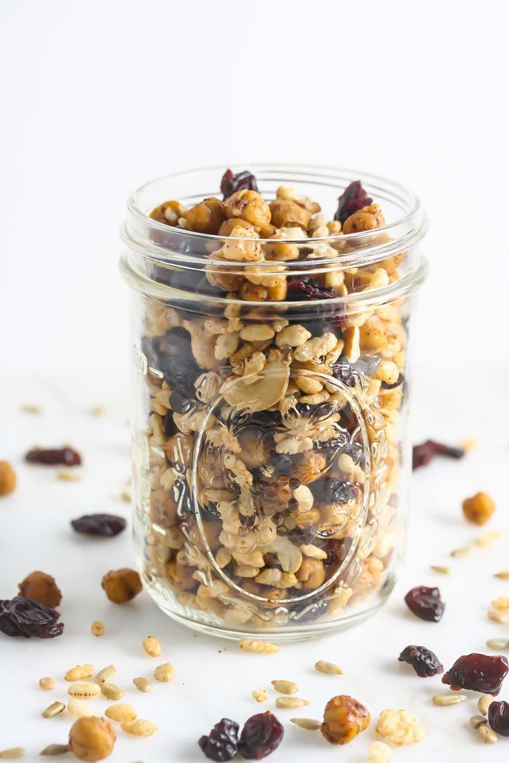 Roasted Chickpea Trail Mix is made with all wholesome ingredients and is the perfect on-the-go-snack! www.laurenkellynutrition.com