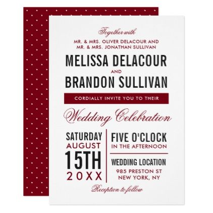 Dark Red Modern Typography Wedding Invitation - red gifts color style cyo diy personalize unique