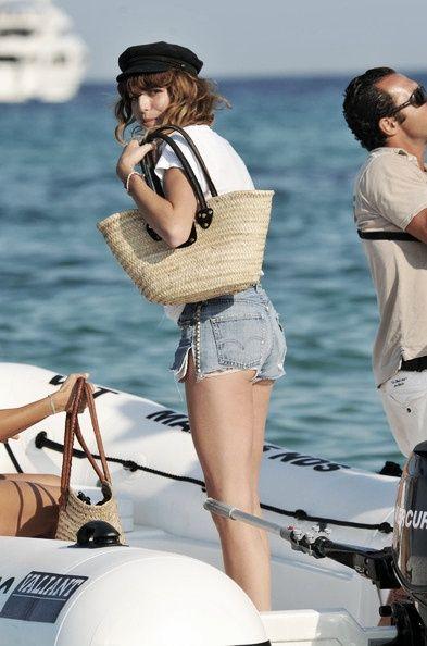 Alexa chung daisy duke cut off shorts pearl on boat yacht sailing