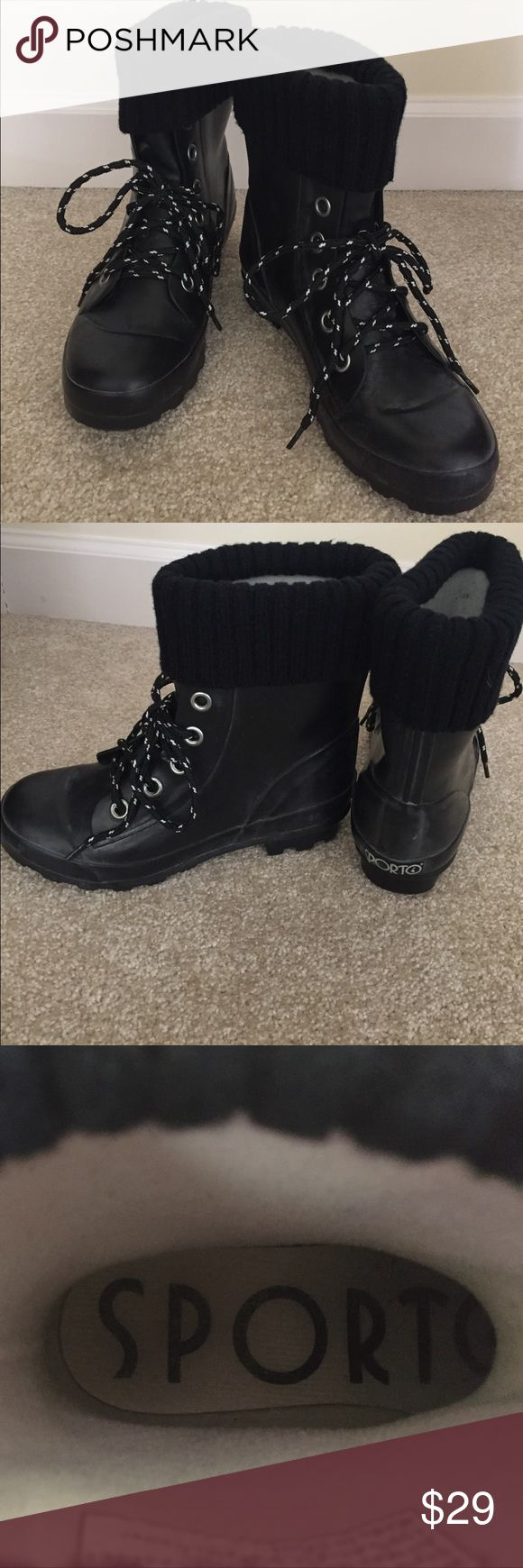 Sporto boots. Ladies Size 8. Black Sporto boots(distressed grayish finish) with sweater collar. Worn twice. Light fleece lining. Good stay dry boot. Size 8. Very roomy size 8, as with most Sporto products. Sporto Shoes Winter & Rain Boots