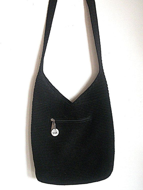 Vintage THE SAK Classic Design / Crochet Bag / Black ...