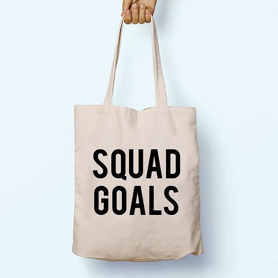 Squad Goals Gym Slogan Quote Cotton Shopper by PaperTigersApparel