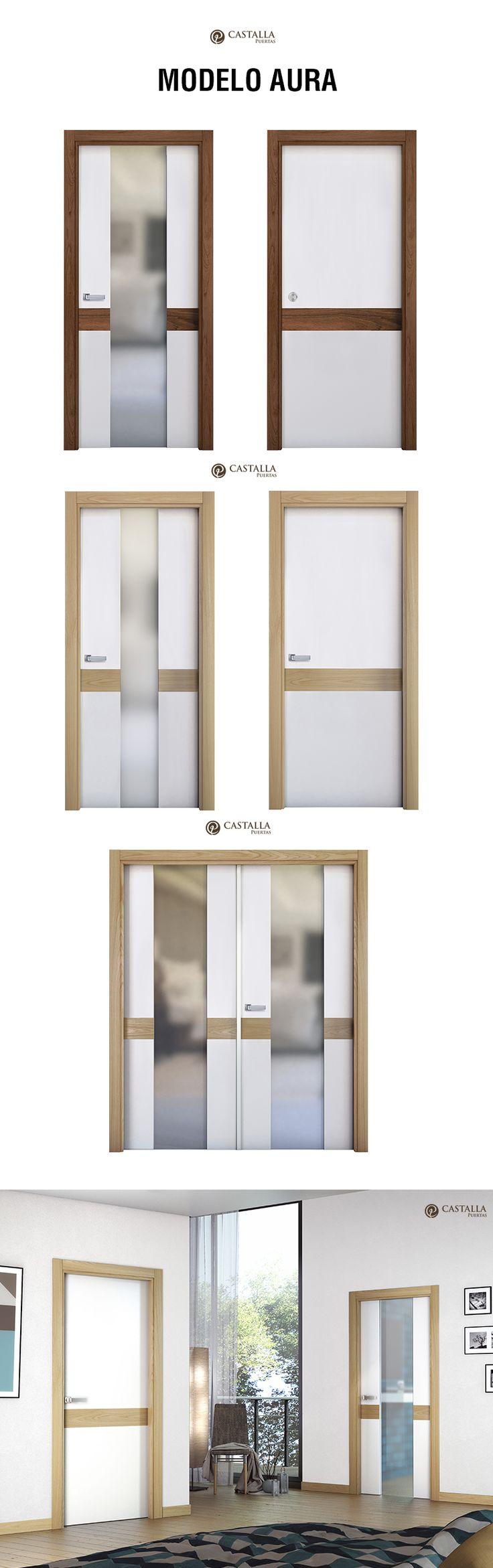 Puerta de interior con cristal Modelo AURA. Puertas Castalla | glass interior door model AURA. CAstalla Doors
