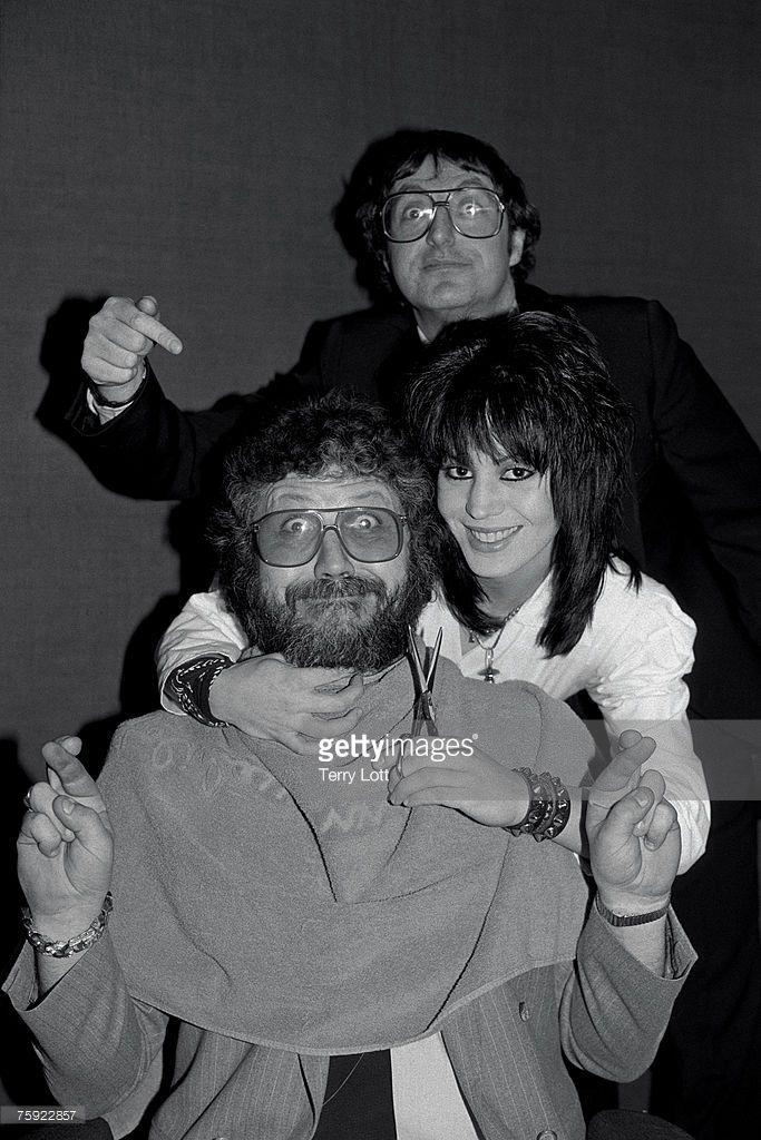 Joan Jett with Radio Presenter Dave Lee Travis and Jonathan King, London 1983
