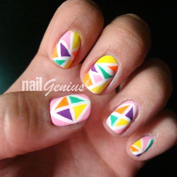 geometric nail art design (http://www.youtube.com/watch?v=yB-P_JODKuw tutorial on YouTube - nailgenius2012)