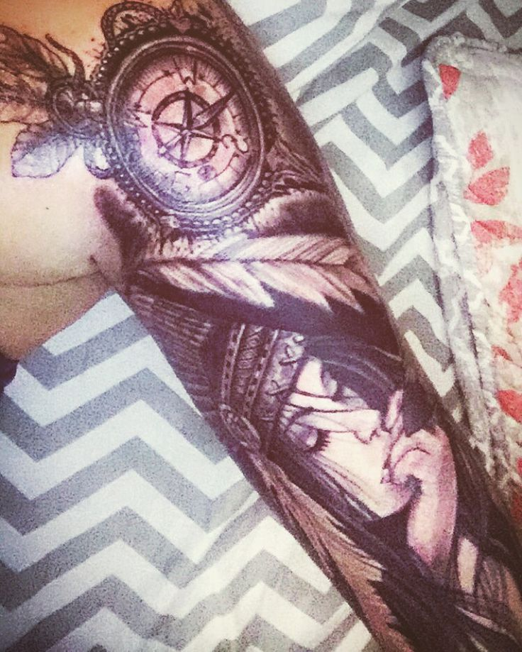 Native sleeve tattoo beautiful, girls with tattoos, sleeves, black and white sleeve