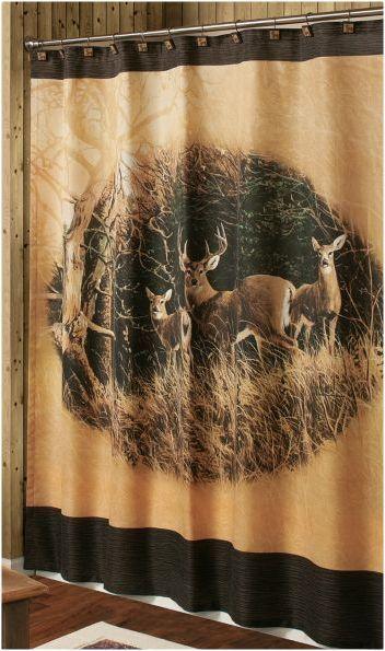 DEER BUCK TREES SHOWER CURTAIN Bathroom Cabin Log Lodge Rustic Decor Hunting In 2018