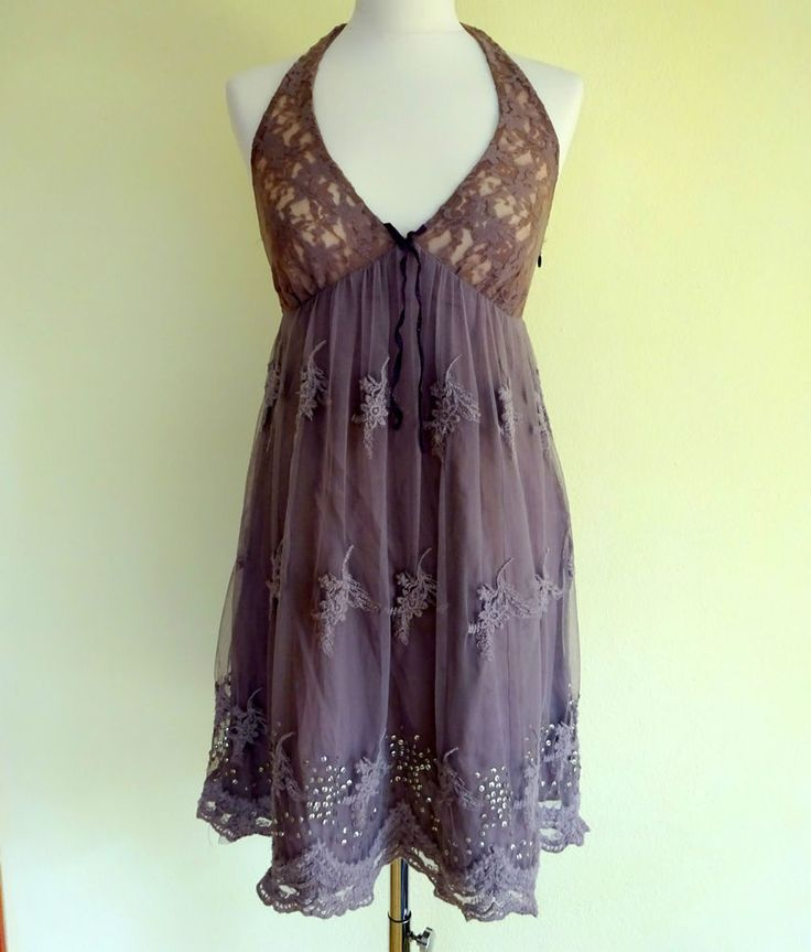 Odd Molly Summer Halter Dress 642 Size S 1 vintage pink Lace Sequin