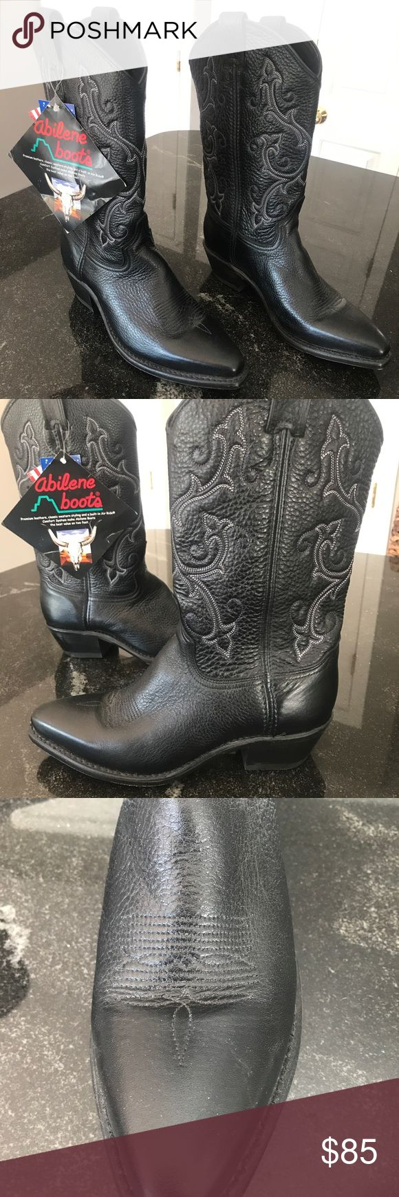 Abilene cowboy boots Brand new with tags Abilene cowboy boots! Never worn! Still with original box! Classic black with beautiful scroll work with a hint of purple and white stitching. abilene Shoes Heeled Boots