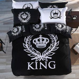 Luxury Royal king queen pattern white black bedding set 3pcs or 4pcs cotton duvet cover set bed sheet pillowcase cover