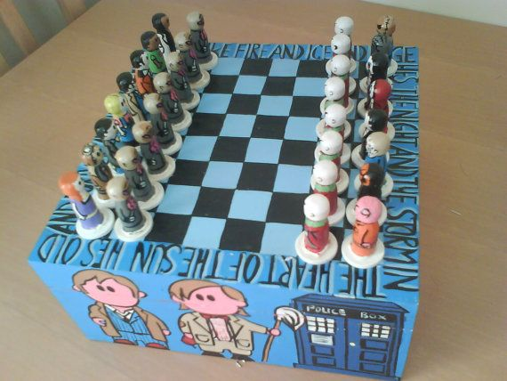 this cool doctor who chess set has been handmade at the alex shepard studio. The set features characters from the 10th doctor (david tennant)