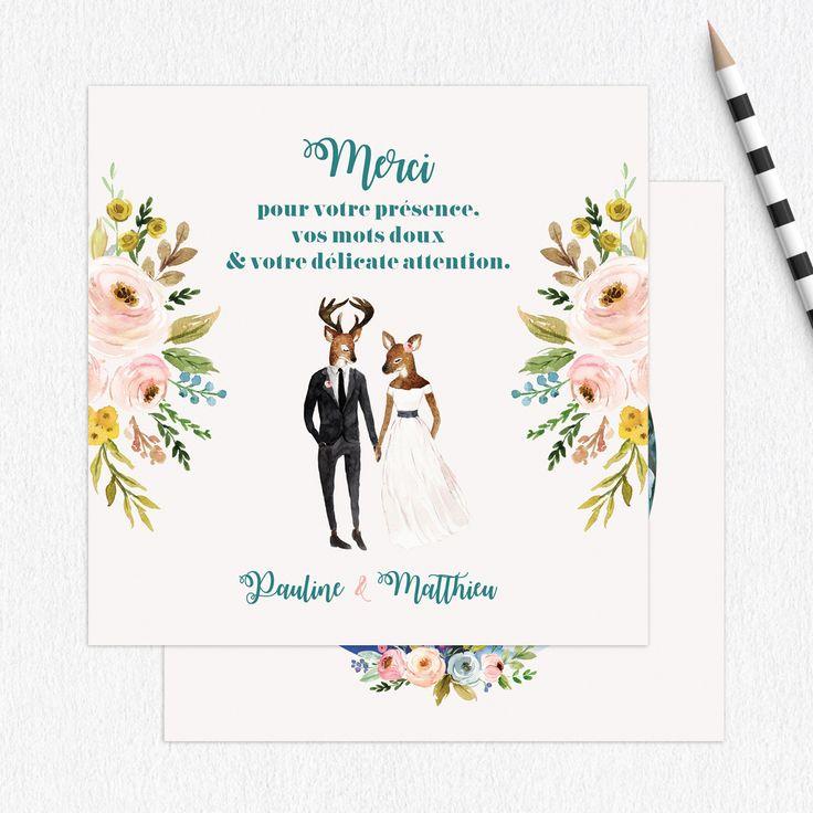 Carte de remerciement mariage Champêtre par La Papeterie de Paris