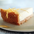 lemon cheesecake with a crust made from almonds and matzo meal