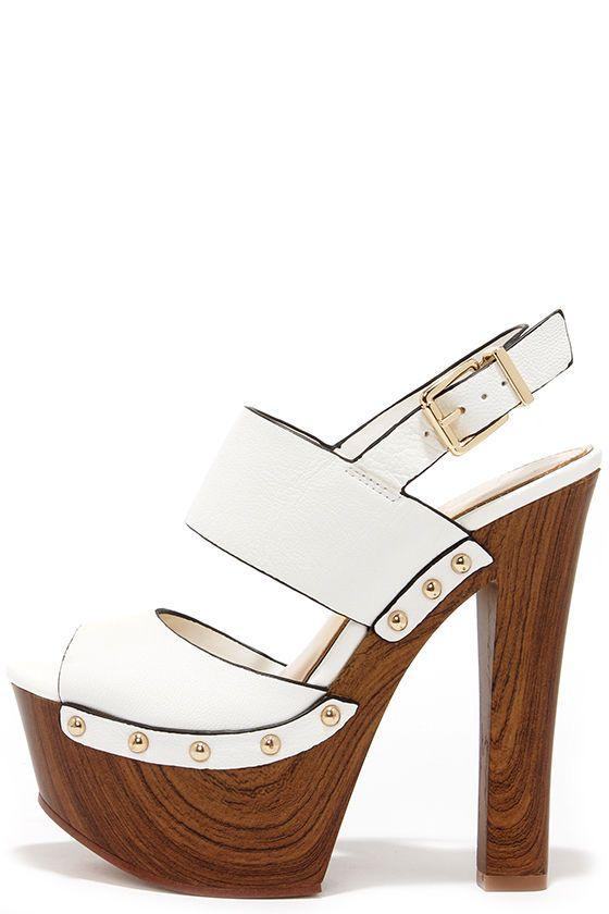 Jessica Simpson Dallis Powder White Leather Platform Sandals