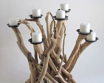 Artículos similares a Sostenedor de vela de madera flotante, boda, centro de mesa de madera de la playa en Etsy