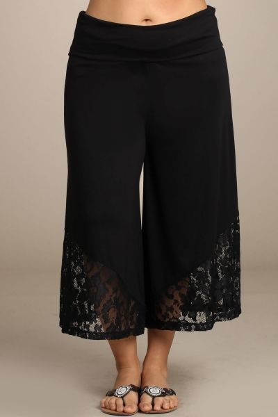 PLUS SIZE BLACK WIDE LEG GAUCHO PALAZZO PANTS LACE FOLD OVER WAIST - FREE SHIP! #chatoyant #CaprisCropped