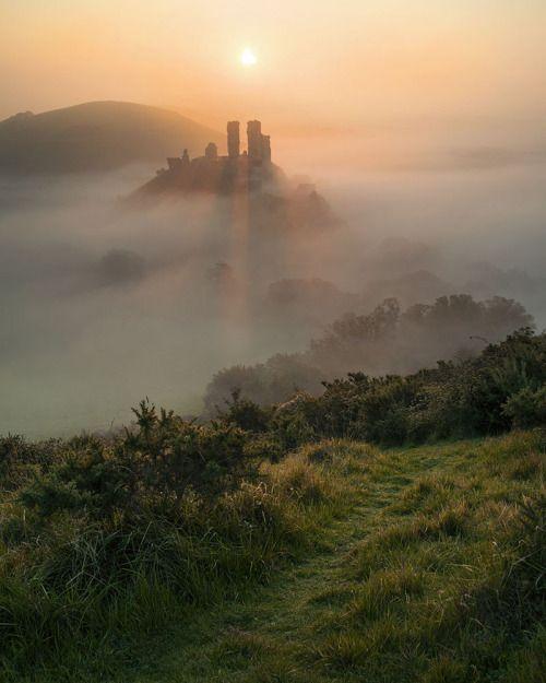 "wanderthewood: ""Sunrise over Corfe Castle - Dorset, England by peterspencer49 """