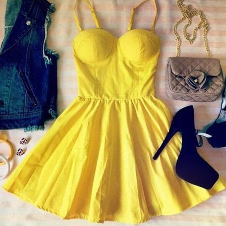 Sweet Yellow Casual Style Solid Color Women's Vintage Dress #Sweet #Yellow #Vintage #Style #Dress #Fashion