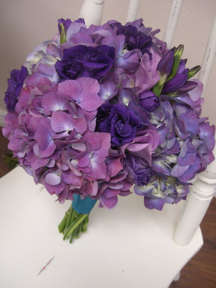 purple hydrangea wedding flowers with purple lisianthus