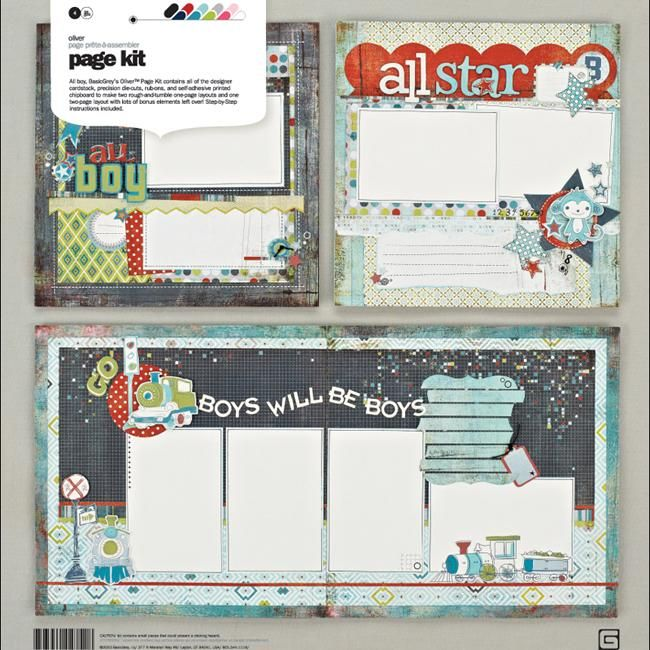Basic Grey Oliver Page Kit 12x12-in Layouts