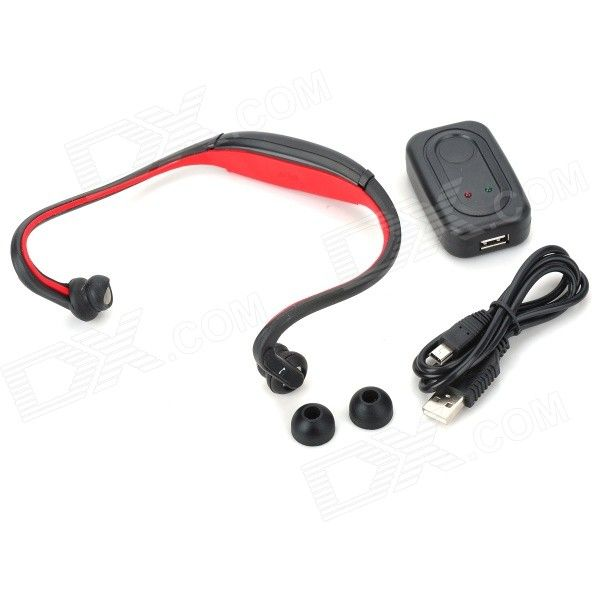 S9 Bluetooth V2.0+EDR Back-Hang Handsfree Stereo Headset - Red - Free Shipping - DealExtreme
