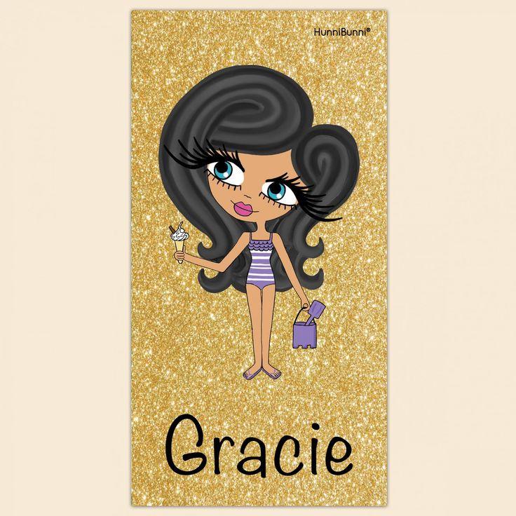 HunniBunni Little Miss Gold Glitter and Black Print Personalised Beach Towel