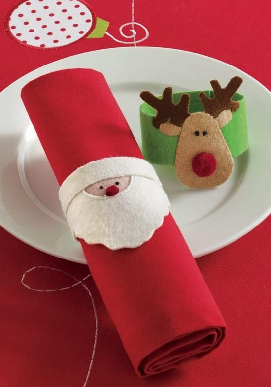 I like the idea of the kids helping to put together this cute napkins and ring.... Santa Reindeer Felt Napkin Rings by tag® | Organize.com I'm making the reindeer :)