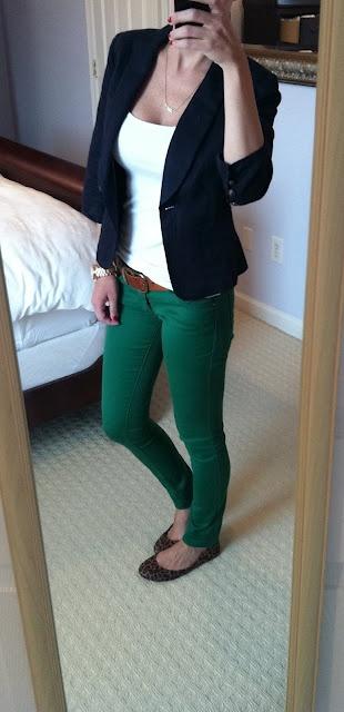 Green jeans, white tank, new blazer! Need flats