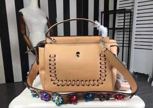 2016 New Fendi Dotcom Lace-Up Satchel Bag in Apricot Leather