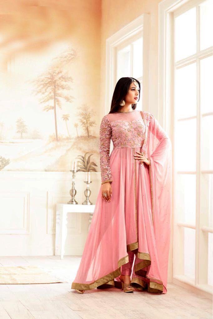 designer indian party dresses online buy india, pink designer suit