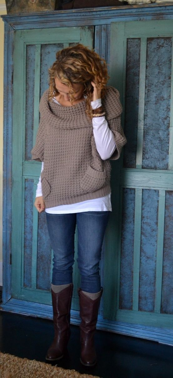 Jeans, boots, white long sleeve t-shirt, sweater